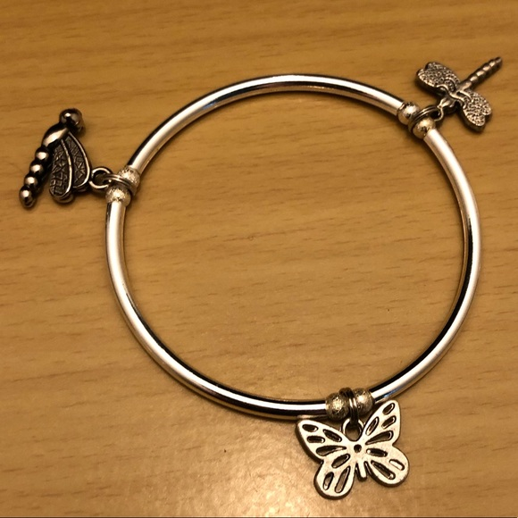 Hand Crafted Jewelry - Silver Bangle Charm Bracelet